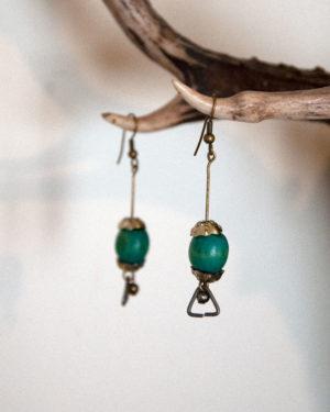 boucles d'oreilles bois-turquoise
