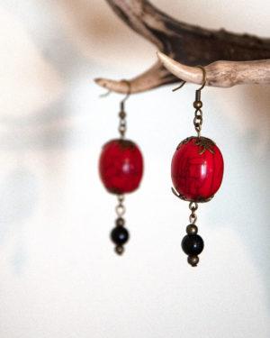 boucles d'oreilles lanternes-rouges