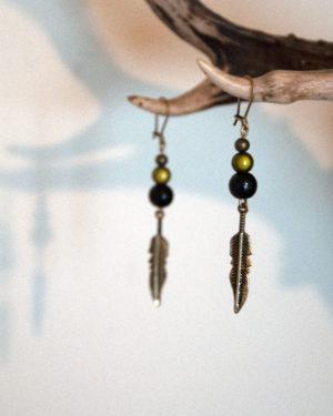 boucles d'oreilles plumes-vertes