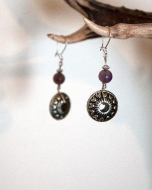 boucles d'oreilles roues-version-violette